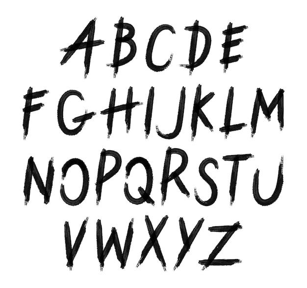 Police de lettres grunge. alphabet d'encre dessiné à la main. police de type à gratter grunge. police décorative pour livres, affiches, carte postale, typographie. vecteur.