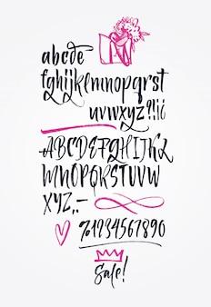 Police manuscrite manuscrite. Brush font. Majuscule, chiffres, ponctuation