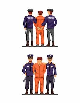 Police menottes homme criminel avant et arrière ensemble de vue. dessin animé de concept