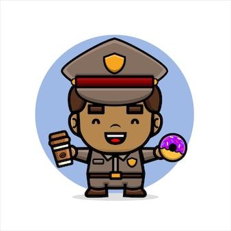 La police mignonne de bande dessinée tient sur le café et les beignets