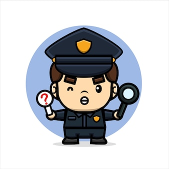 La police mignonne de dessin animé tient la loupe et interdit le panneau de signalisation