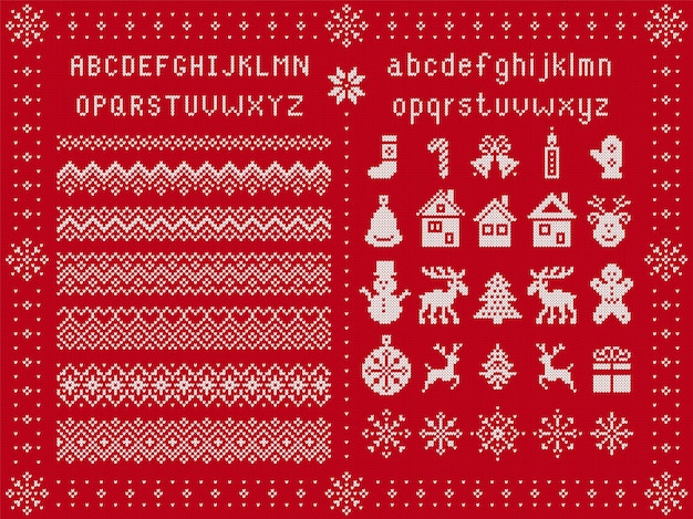 Police de noël et éléments de noël. tricoter des bordures sans couture. modèle de pull. ornement fairisle avec type, flocon de neige, cerf, cloche, arbre, bonhomme de neige, coffret cadeau. imprimé tricoté. rouge texturé