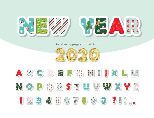 Police de noël. nouvel an 2020. alphabet avec lettres et chiffres