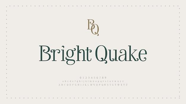 Police et nombre de lettres de l'alphabet élégant. conceptions de mode minimalistes de lettrage classique. typographie moderne polices serif concept de mariage vintage décoratif régulier.