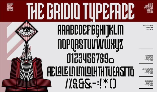 Police et nombre de lettres de l'alphabet de police de caractères de titre de lumière moderne