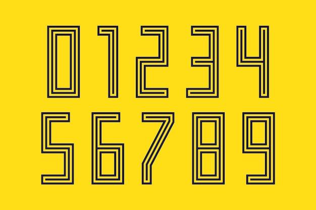 Police des nombres. police de sport avec des chiffres et des chiffres