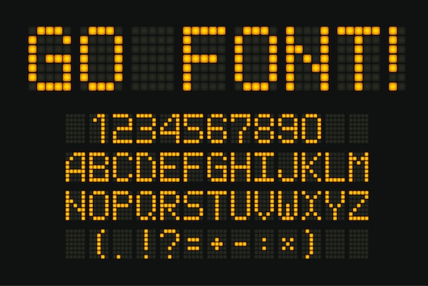 Police numérique. composition jaune pour affichage électronique