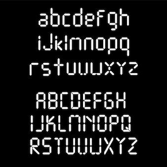 Police numérique. lettres de réveil. ensemble de chiffres et de lettres pour une montre numérique et d'autres appareils électroniques