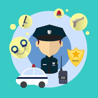 Police officer man icon illustration vectorielle plane