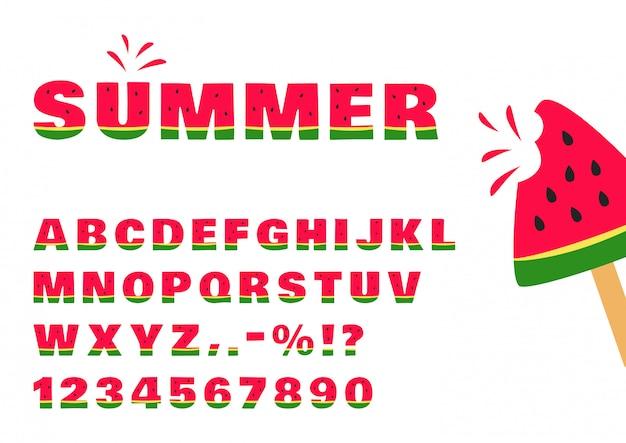 Police de pastèque, alphabet d'été et chiffres. illustration
