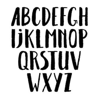 Police peinte au pinceau calligraphique mignon. majuscule. illustration dessinée à la main