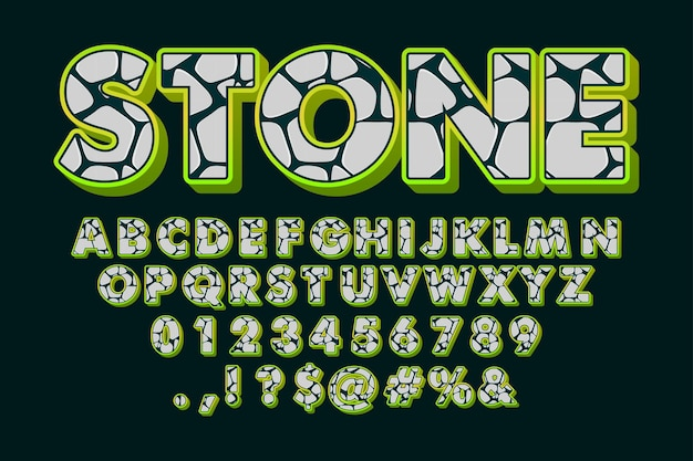 Police de pierre, alphabet de dessin animé avec motif en pierre