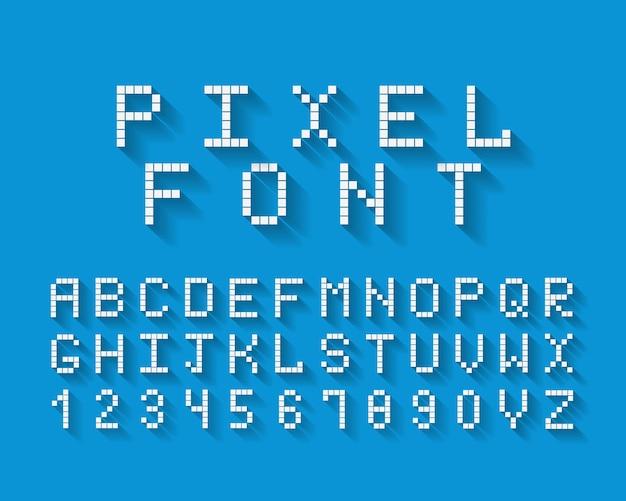 Police pixel avec un ensemble complet de lettres alphabétiques majuscules et les chiffres de 0 à 9 sur fond bleu