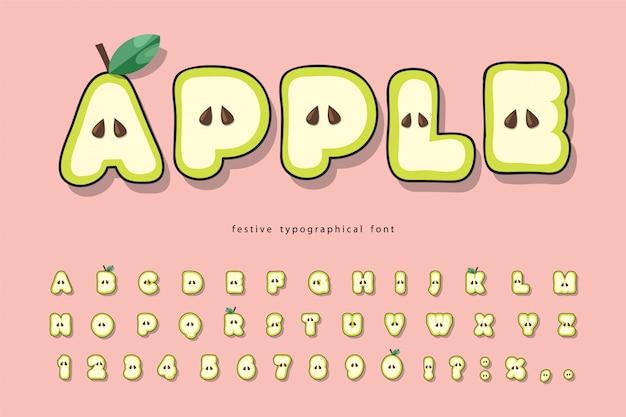 Police de pomme d'été mignon. papier de dessin animé découpé alphabet pour les enfants.