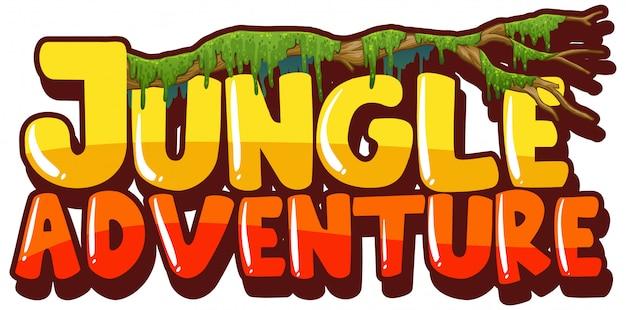 Police pour mot aventure dans la jungle avec une branche de mousse