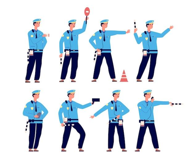 Police de la route. sécurité routière, agent de patrouille de contrôle de la circulation.
