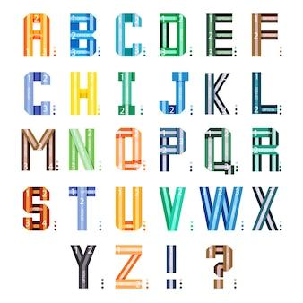 Police de rubans infographiques. lettres de l'alphabet de style multicolore isolés sur fond blanc.