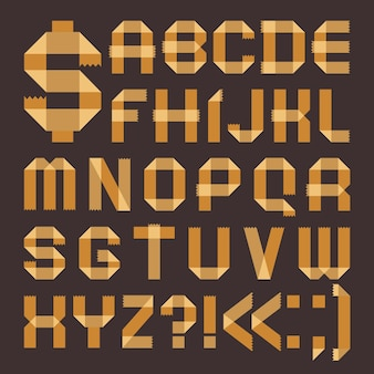 Police de scotch jaunâtre - alphabet romain (a, b, c, d, e, f, g, h, i, j, k, l, m, n, o, p, q, r, s, t, u , v, w, x, y, z)