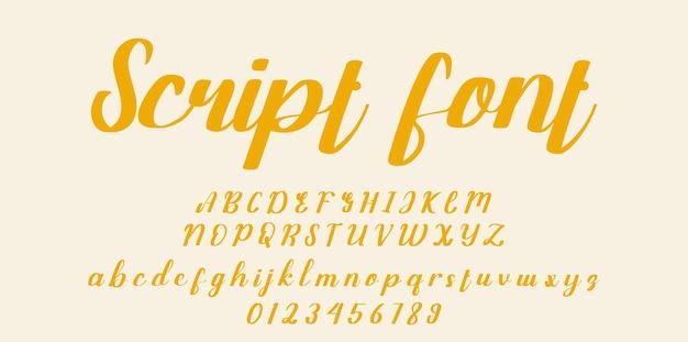 Police de script manuscrite. police de caractères