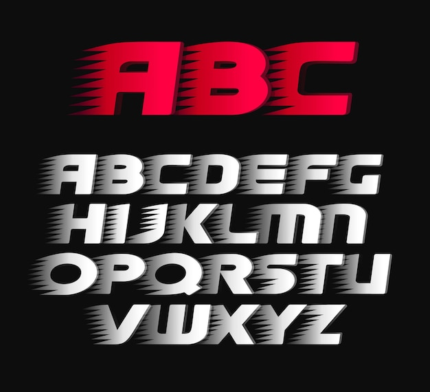 Police de sport. alphabet lettres italiques gras, symboles blancs et rouges.