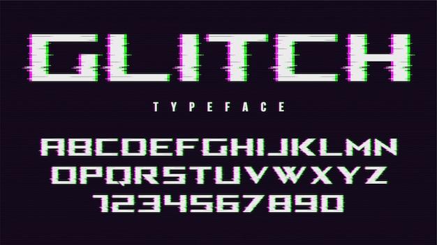 Police de style glitch déformée, alphabet, police de caractères, t
