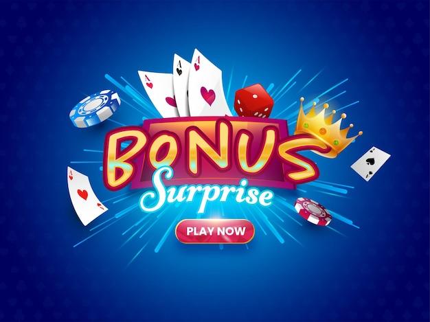 Police surprise bonus avec couronne dorée réaliste, dés, jetons de poker, cartes à jouer sur fond de rayons bleus.