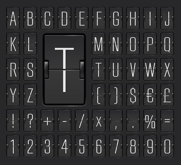 Police de tableau noir étroit avec des chiffres pour afficher les informations de départ ou d'arrivée du vol. alphabet de tableau de bord mécanique du terminal de l'aéroport pour afficher l'illustration vectorielle de destination et d'horaire.