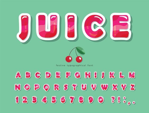 Police tendance de l'été rose brillant. alphabet décoratif de dessin animé.