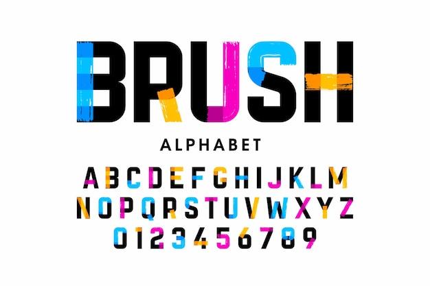 Police de trait de pinceau, lettres de l'alphabet et chiffres