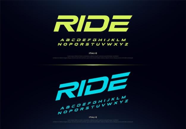 Police typographique moderne de style or pour la technologie