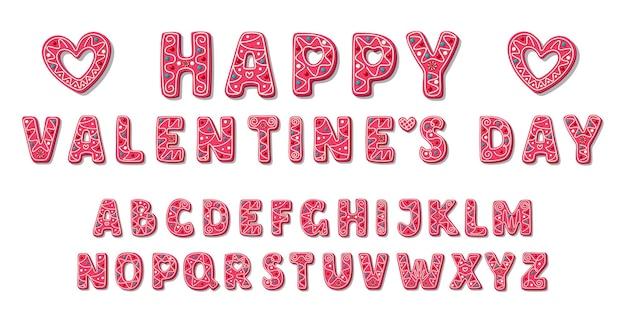 Police de valentine douce rose. alphabet de cookies mignons. amour lettres abc en style cartoon. bonbons pour les filles.
