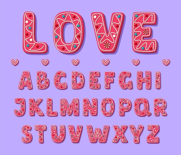 Police de valentine douce rose. alphabet de cookies mignons. police sympathique et charmante en style cartoon.