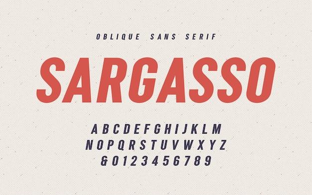 Police vectorielle sargasso oblique san serif, alphabet, police de caractères, lettres majuscules et chiffres. nuancier global.
