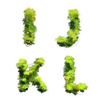 Police de vignes et arbustes tropicaux de dessin animé mignon, glyphes ijkl
