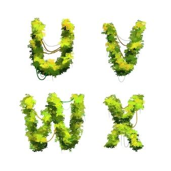 Police de vignes et arbustes tropicaux de dessin animé mignon, glyphes uvwx