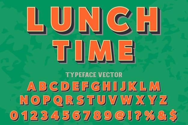 Police vintage, alphabet manuscrit nommé heure du déjeuner