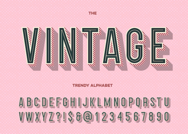 Police vintage. typographie tendance alphabet moderne rétro