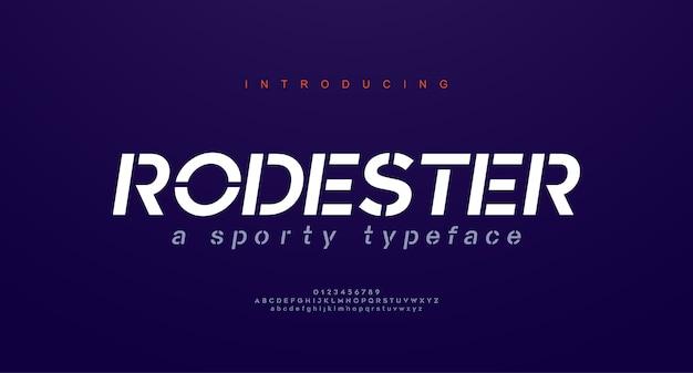 Polices d'alphabet italique urbain moderne abstraite. typographie sport, simple, technologie, mode, numérique, future police de logo créatif.