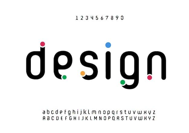 Polices d'alphabet minimal moderne abstraite. typographie style urbain pour le plaisir, sport, technologie, mode, numérique, future police de logo créatif