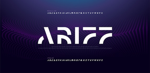 Polices de l'alphabet moderne abstrait