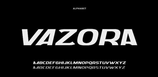 Polices de l'alphabet moderne futuriste numérique abstraite