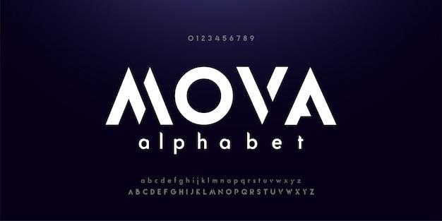 Polices alphabet moderne de technologie numérique abstraite