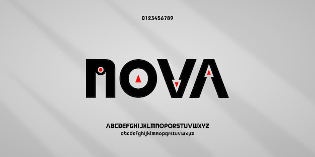 Polices de l'alphabet moderne. typographie pour la police et le nombre de jeux, futurs, créatifs et abstraits