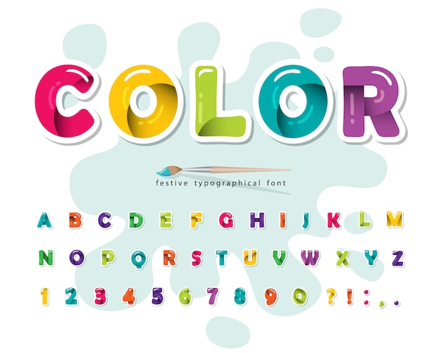 Polices colorées modernes de dessin animé. alphabet brillant brillant.