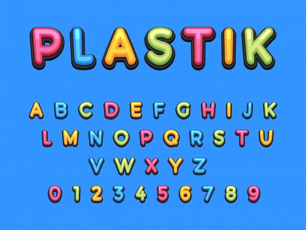 Polices de dessin animé en plastique pour enfants.