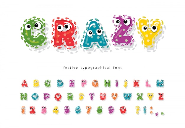 Polices d'enfants drôles avec des yeux. alphabet coloré moelleux de dessin animé.