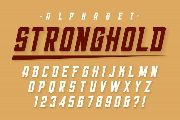 Polices fortes condensée de vecteur avec alphabet, caractère