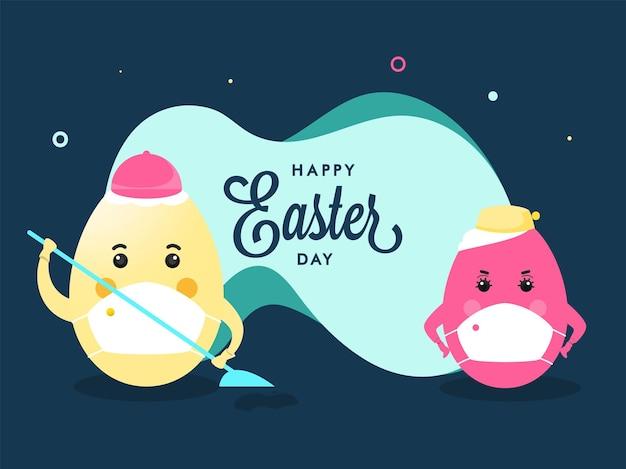 Les polices de joyeux jour de pâques avec le personnage d'oeufs de dessin animé portent des masques de protection sur fond bleu sarcelle.