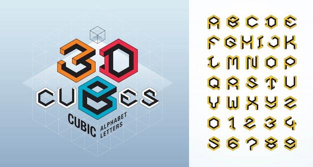 Polices stylisées de cube abstrait