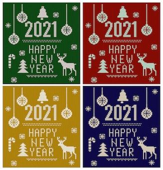 Polices tricotées, éléments et bordures pour noël, nouvel an ou hiver